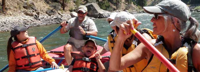 Idaho family vacations, river rafting